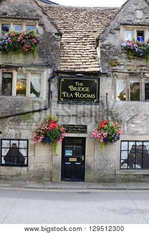 Bradford on Avon, UK - AUGUST 5, 2015: The Bridge Tea Room at Bradford on Avon, Double Winners of the UK's Top Tea Place and the Home of West Country Afternoon Teas.