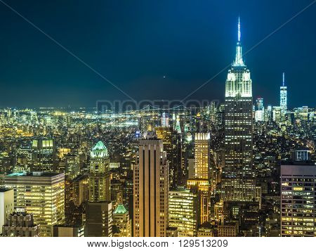 New York skyline in the night