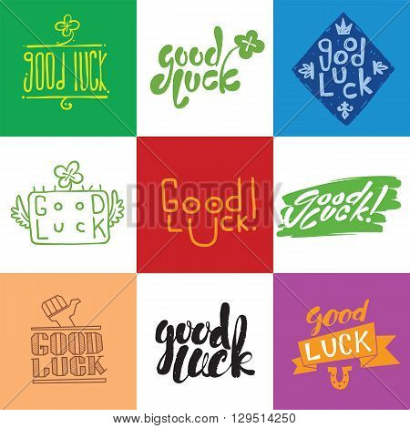 Good luck. Hand lettering. Greeting backgrounds good luck lettering. Good luck lettering greeting message text background and  farewell banner wish good luck lettering happiness lucky happy graphic.