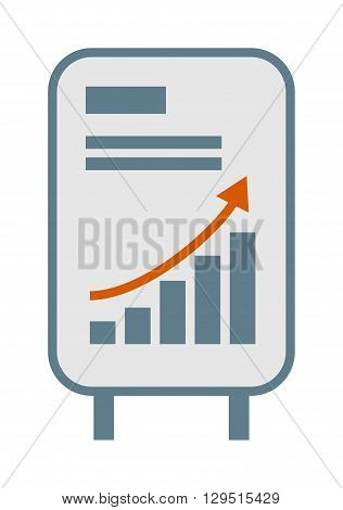 Vector growing chart graph icon business arrow progress diagram. Growth chart business arrow and financial market growth chart. Diagram success profit finance growth chart statistic bar concept.