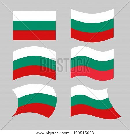 Bulgaria Flag. Set Of Flags Of Bulgarian Republic In Various Forms. Developing Bulgarian Flag Of Eur