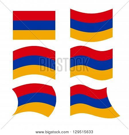 Armenia Flag. Set Of Flags Of Armenian Republic In Various Forms. Evolving Armenian State Flag In So