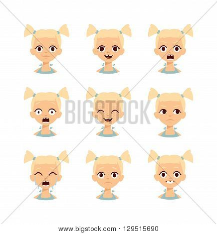 Girl emotion faces cartoon vector illustration. Cartoon sad smile angry person girl emotions face and collection expression different girl emotions face. Avatar laugh cheerful girl emotions face.