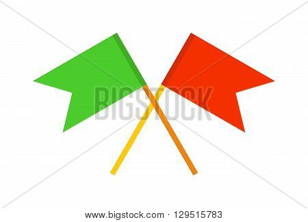Vector waving flags and flags banners icons, flags presentations. Web pages flags and design symbol banner icon pole. Event map element emblem flagpole collection flags, pointer direction red flag.