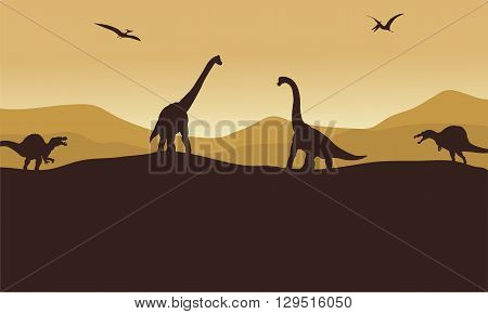 Silhouette of many dinosaur in hills with brown backgrounds