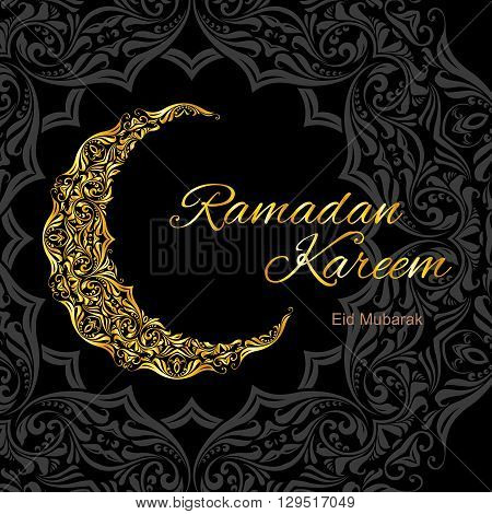 Golden ornate crescent on black and grey background of asian floral ornament. Greeting card of holy Muslim month Ramadan