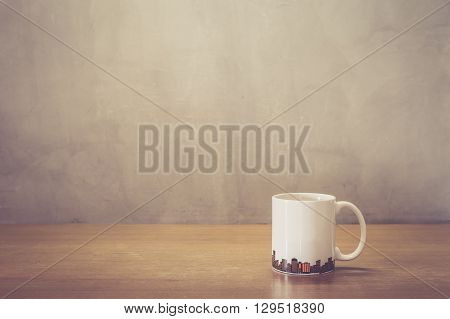 Close Up White Coffee Cup On Wooden Table