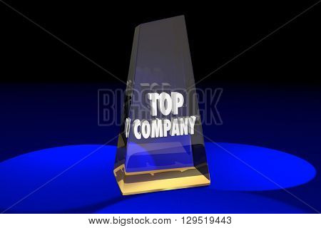 Top Company Best Business Award Words 3d Illustration