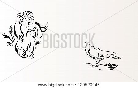 dog and pigeon hand drawn vector illustration realistic sketch