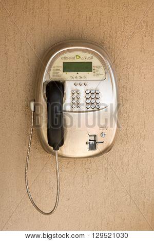 DUBAI UAE - MAY 05 2016: Etisalat payphone in Deira street