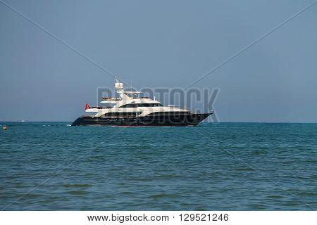Sailing boat in Ligurian Sea near Viareggio Italy