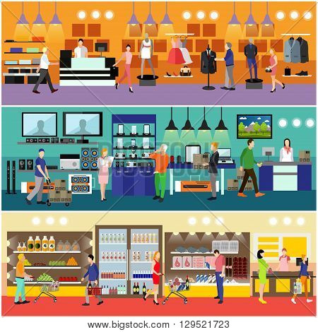 People shopping in a mall concept. Consumer electronics store Interior. Colorful vector illustration. Customers buy products in food supermarket.