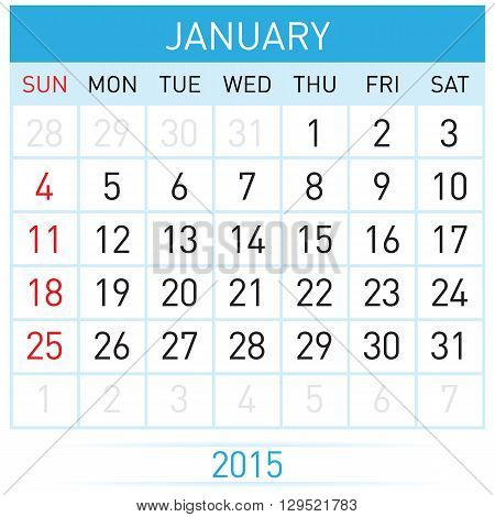 Monthly calendar template for January of year Twenty Fifteen
