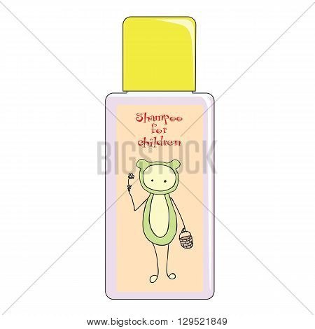 Shampoo bottle cartoon a strange creature with a basket and a flower. Shampoo bottle abstract funny cute creature. Shampoo bottle for baby and child.
