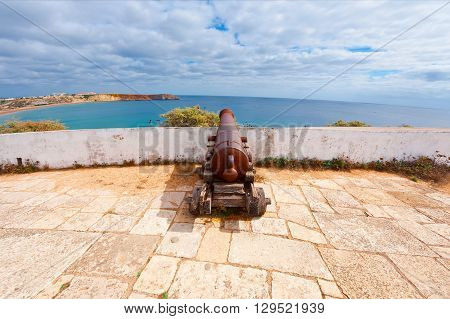 Old Rusty Cannon Guarding the Portuguese Fortress Sagres
