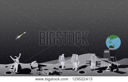 Moon space station vector illustration. Astronauts landing to moon concept.