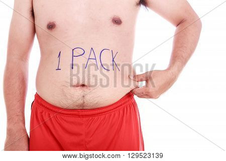 Portrait Of Fat Man Wrote 1 Pack On His Belly Isolated On White  : Fat And Healthy Concept