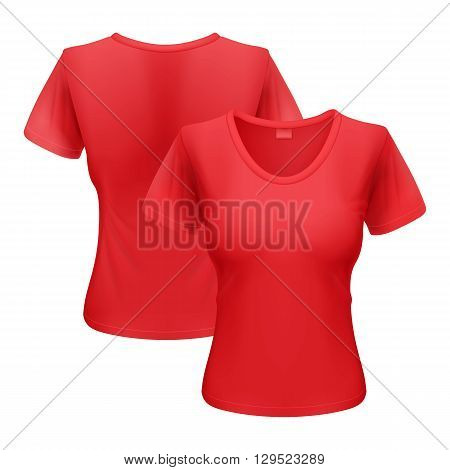 Womens red T-shirt isolated on white background