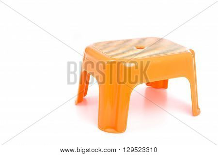 Orange Traditional Mini Four Legs Plastic Chair Isolated On White