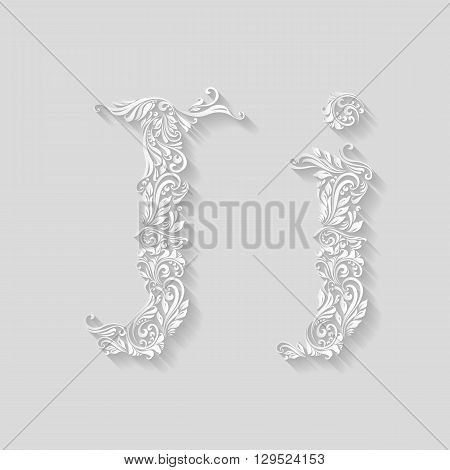 Handsomely decorated letter J in upper and lower case on gray