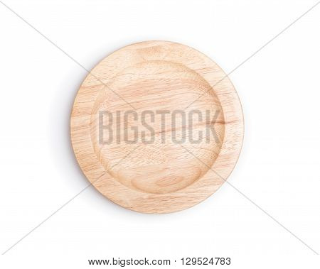 Empty Flat Wooden Dish Isolated On White Background
