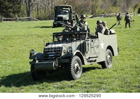 BETHPAGE, NEW YORK - APRIL 10, 2016: The M3A1 Scout Car during Armor Experience event at the Museum of American Armor in Bethpage, NY