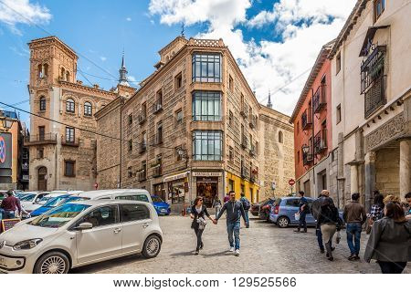 TOLEDO,SPAIN - APRIL 23,2016 - In the streets of Toledo. Toledo is known as City of the Three Cultures .Toledo is a municipality located in central Spain.