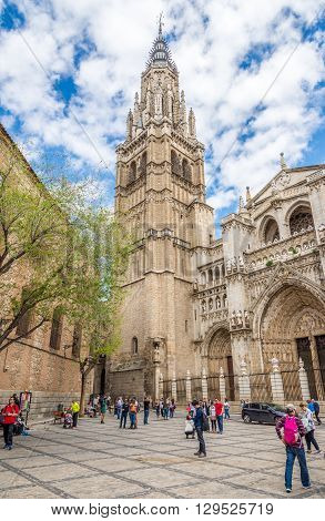 TOLEDO,SPAIN - APRIL 23,2016 - Belltower of Cathedral in Toledo. Toledo is known as City of the Three Cultures .Toledo is a municipality located in central Spain.