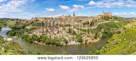 TOLEDO,SPAIN - APRIL 23,2016 - Panorama view at the Toledo city. Toledo is known as City of the Three Cultures .