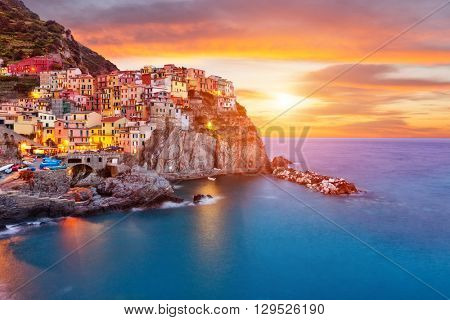 Old village Manarola, coast of Italy