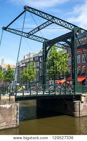 Amsterdam Holland - July 22 2014: Red Light district. a traditional drawbridge