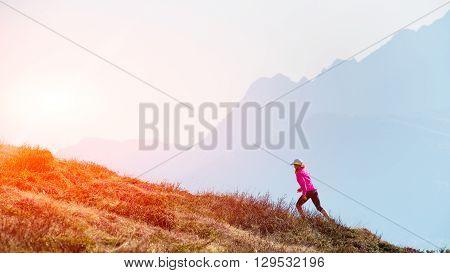 .female Athlete Ago In The Mountains Training