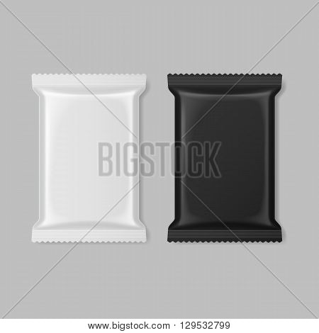 Set of polymer packaging in black and white color