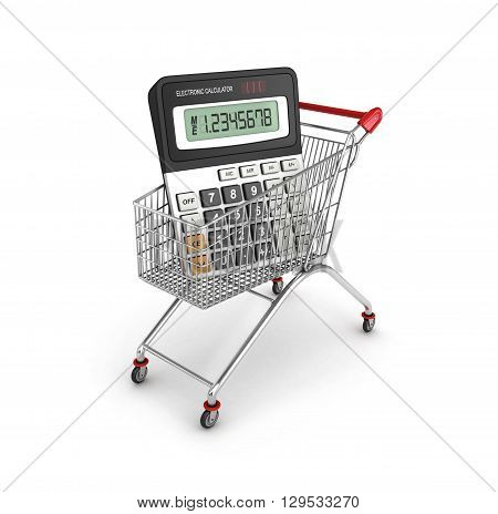 calculator in shopping card isolated 3d illustration