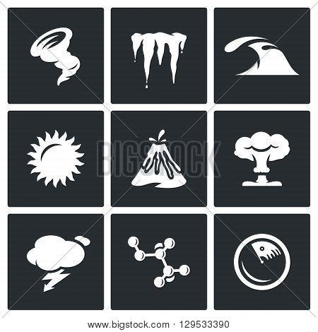 Hurricane, Icicles, Wave, Sun, Volcanoe, Nuclear Explosion, Lightning, Bacteria, Radar