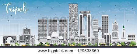 Tripoli Skyline with Gray Buildings and Blue Sky. Business Travel and Tourism Concept with Historic Buildings. Image for Presentation Banner Placard and Web.