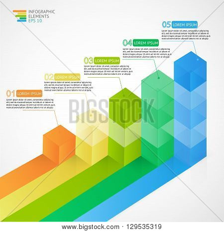 3D growing multicolor infographic bar chart diagram for financial, analytics, statistics reports and web design. Vector illustration.