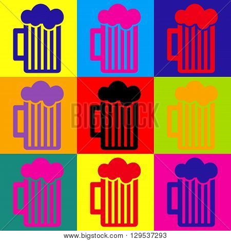 Glass of beer icon. Pop-art style colorful icons set.