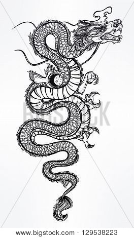 Traditional asian dragon with moon sphere. Vector illustration isolated. Magic, ethnic, boho, alchemy objects linear style. Tattoo outline template. Ideal for coloring book or T-shirt graphic.