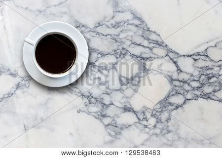 White Coffee Cup On Stone Table Background Top View