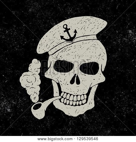 Skull-sailor with pipe.Vector illustration.Typography design for t-shirts