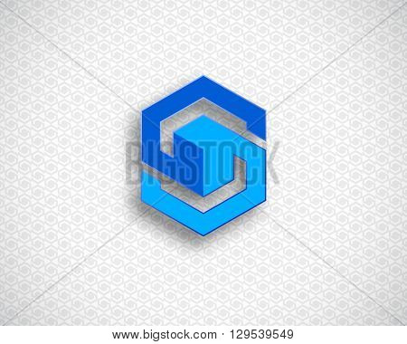 Combination of Letter S. Abstract Logo Design Template. Creative Color Geometric Concept Icon. Blue Logotype
