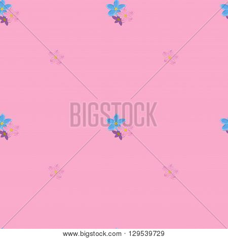 Floral seamless pattern with forget-me-not.  Small forget me not flowers.