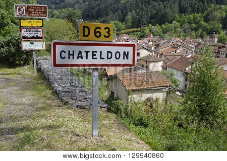 CHATELDON FRANCE May 7 2016 : Chateldon is a medieval village in the northern part of Auvergne. It dates from the early Middle Ages with many of its buildings dating back to the 14th century.