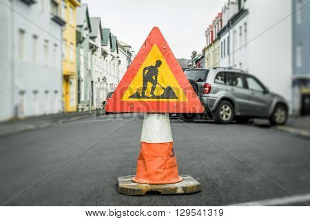 Roadwork Sign On A Cone