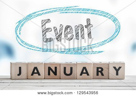 January Event Sign On A Table
