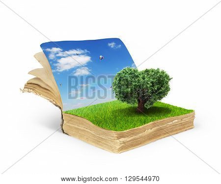 Concept of magic book covered with grass with tree in the form of heart.Tree of life. Tree of love.Reading concept isolated on a white background.