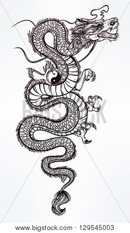 Traditional asian dragon with Yin and Yang symbol. Vector illustration isolated. Magic, ethnic, boho, alchemy objects linear style. Tattoo outline template. Ideal for coloring book or T-shirt graphic.