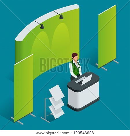 Promotion counter set. Trade stand. Blank vector poster. Flat 3d vector isometric illustration