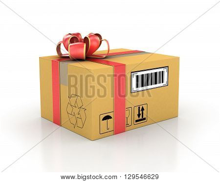 Concept of delivery. Cardboard box in gift ribbon. 3d illustration